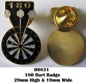 GOLD 180 DARTBOARD - METAL PIN BADGE