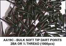 "SOFT TIP DART POINTS - 2BA or 1/4"" (1000 PCS)"