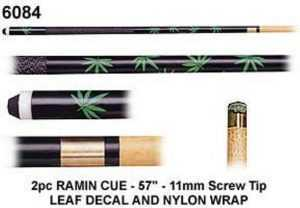 "2 PIECE RAMIN GREEN LEAF CUE 57"" 11mm SCREW TIP"