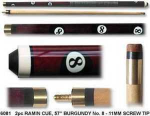"2 PIECE RAMIN CUE NO. 8 BALL 57"" 11mm SCREW TIP"