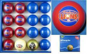 AFL KELLY POOL BALL SET - BRISBANE LIONS vs BLUE - ARAMITH - 2""