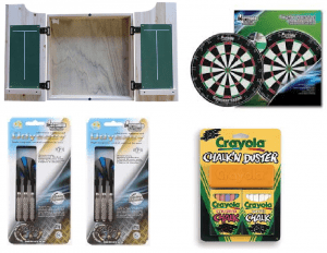 DARTBOARD AND CABINET SET - SOLID TIMBER - RAW, BROWN OR PINE