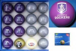 AFL KELLY POOL BALL SET - FREMANTLE DOCKERS vs SILVER - ARAMITH - 2""