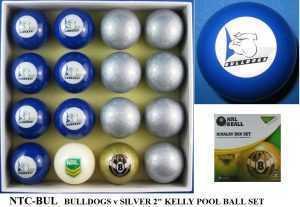 "2"" ARAMITH KELLY POOL BALL SET - BULLDOGS v SILVER"