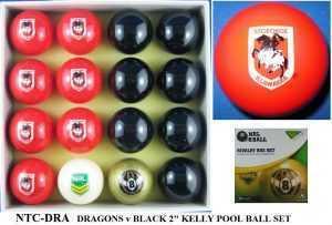 "2"" ARAMITH KELLY POOL BALL SET - ST GEORGE v BLACK"