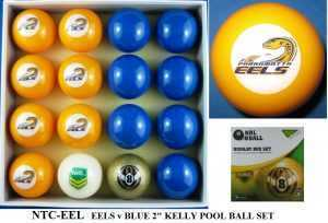 "2"" ARAMITH KELLY POOL BALL SET - EELS v BLUE"