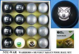 """2"""" ARAMITH KELLY POOL BALL SET - WARRIORS v SILVER"""