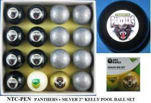 "2"" ARAMITH KELLY POOL BALL SET - PANTHERS v SILVER"