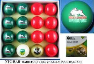 """2"""" ARAMITH KELLY POOL BALL SET - RABBITOHS v RED"""