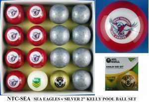 "2"" ARAMITH KELLY POOL BALL SET - SEA EAGLES v SILVER"
