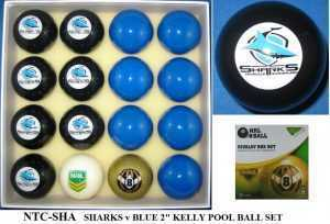 "2"" ARAMITH KELLY POOL BALL SET - SHARKS v BLUE"