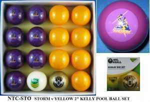 "2"" ARAMITH KELLY POOL BALL SET - STORM v YELLOW"