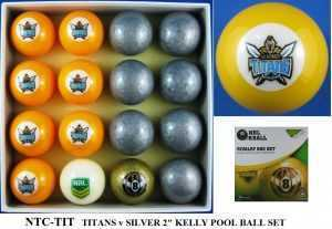 "2"" ARAMITH KELLY POOL BALL SET - TITANS v SILVER"
