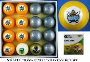 "2"" ARAMITH KELLY POOL BALL SET - TITANS v SILVER"