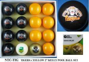 "2"" ARAMITH KELLY POOL BALL SET - TIGERS v YELLOW"