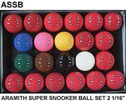 "SNOOKER BALL SET - ARAMITH SUPER SNOOKER BALLS - 2 1/16"""