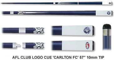 2pc OFFICIAL AFL CLUB LOGO CUE - Carlton