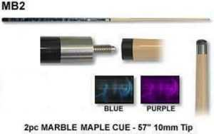 """2 PIECE MAPLE CUE 57"""" - 10mm TIP MARBLE - BLUE OR PURPLE"""